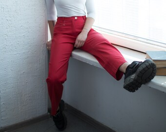 4c9b13c9a80 Vintage 90 s High Waisted Red Straight Trousers