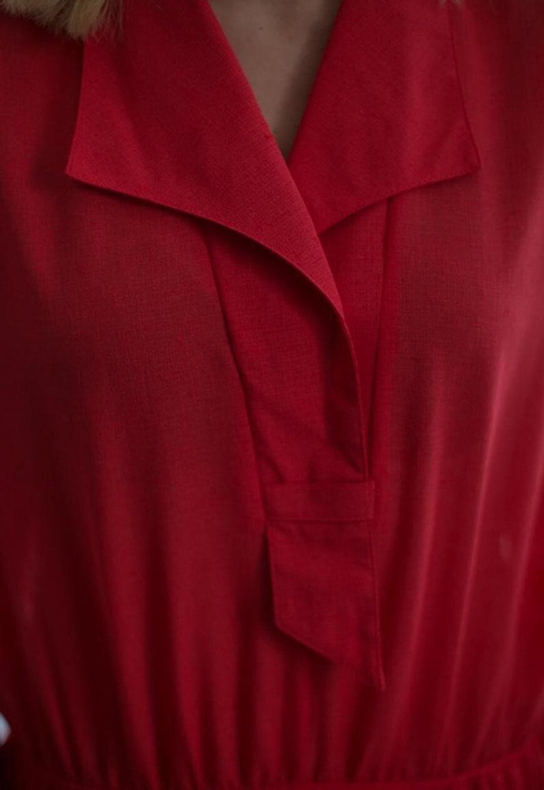 Vintage 80/'s Midi Minimal Red Short Sleeved Dress