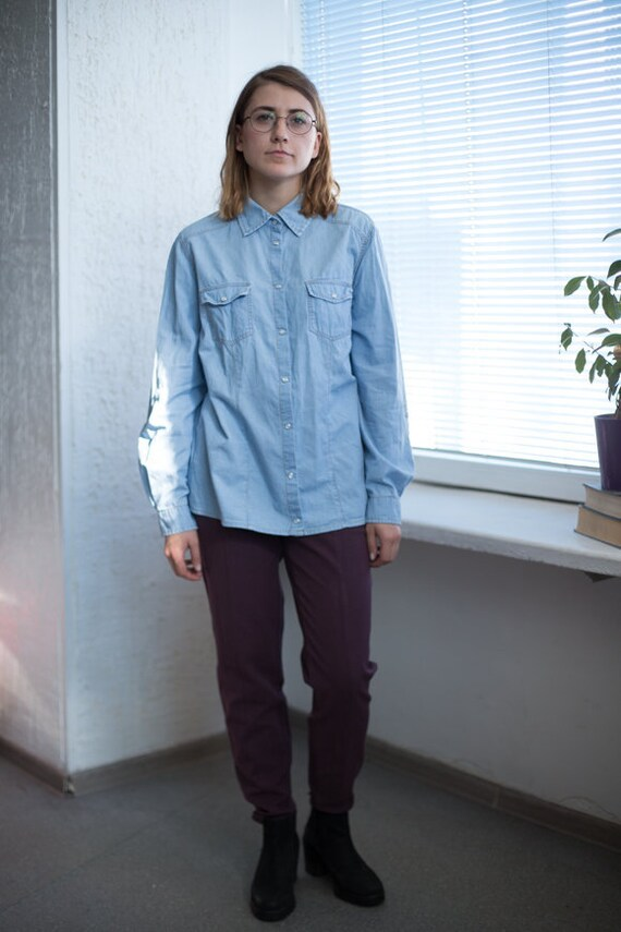 Vintage 90's Light Blue Denim Shirt