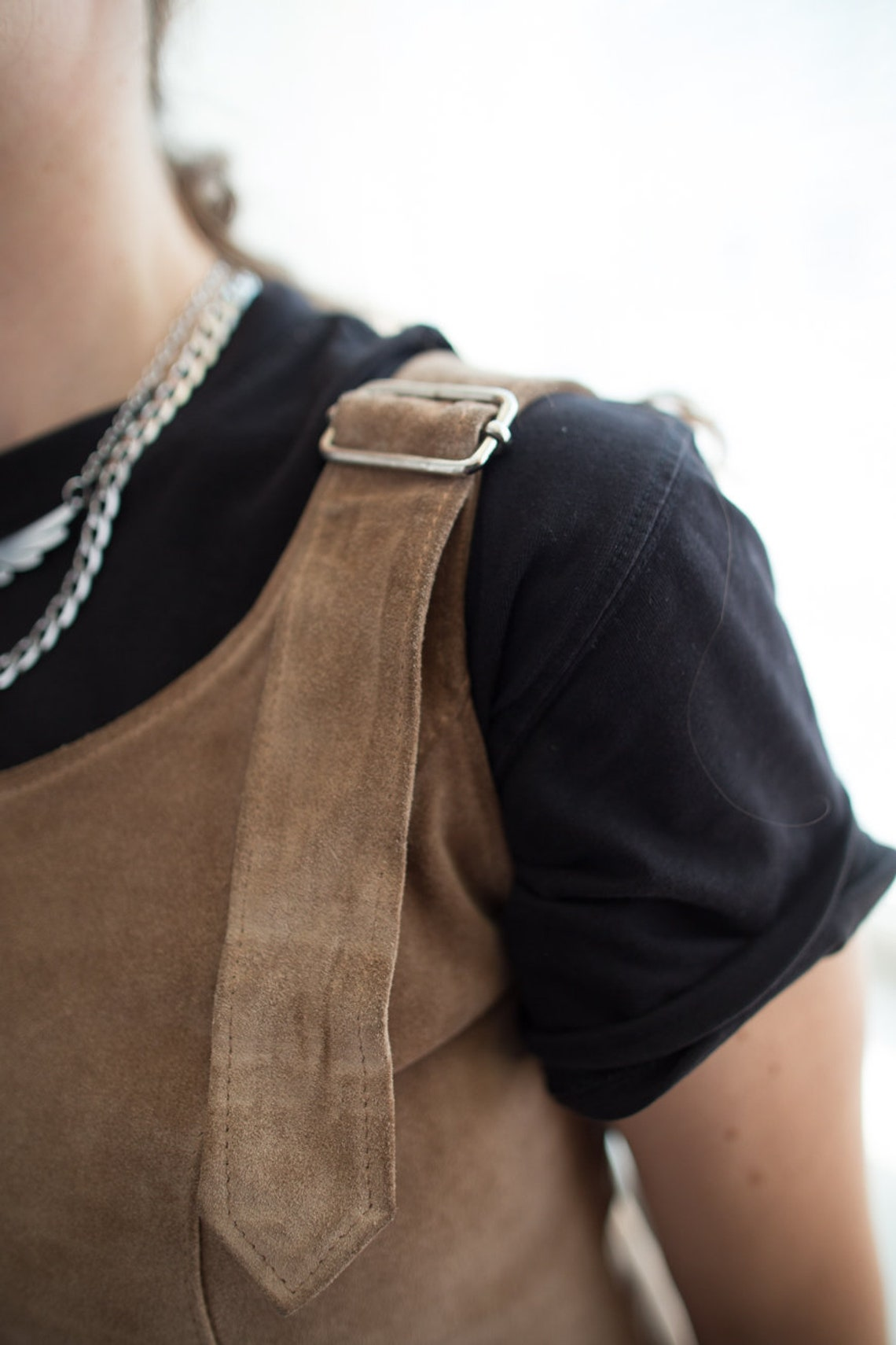 Vintage 70's Brown Suede Pinafore Style Dress
