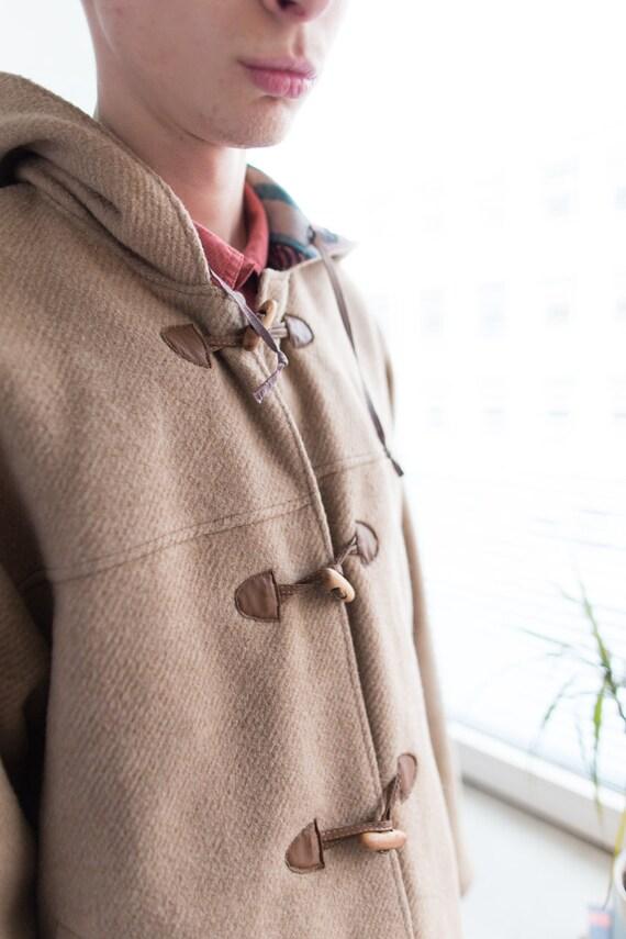Vintage 80's Camel Hooded Wool Parka - image 3