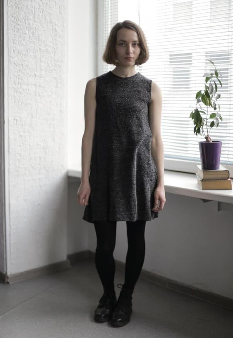 Vintage 70/'s GreyBlack Ribbed Glossy Mini DressTunic