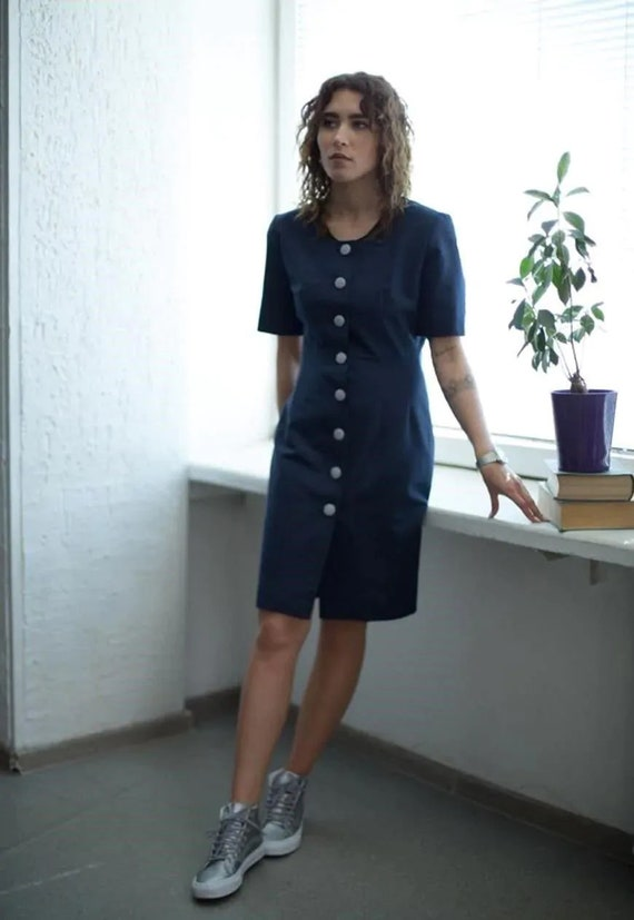 BIBA Vintage 80's Navy Button Up Short Sleeved Dre