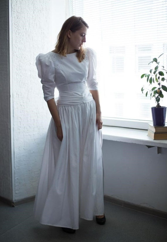Vintage 70's White Maxi Puff Sleeved Wedding Dress