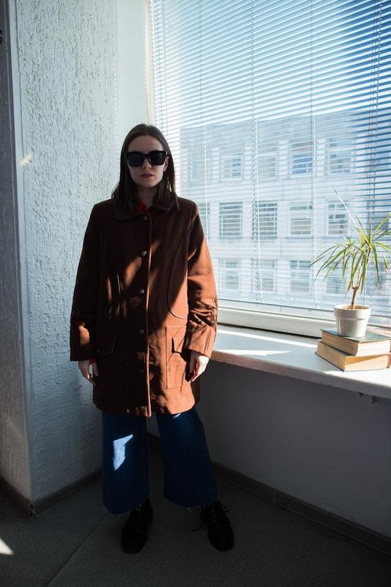 Vintage 80's Brown Wool Parka Coat