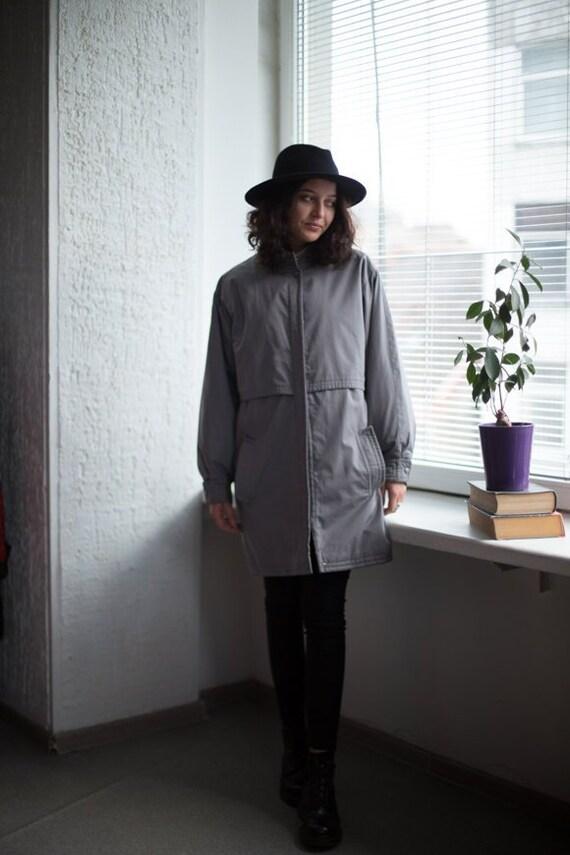 Vintage 80's Parka Coat In Grey