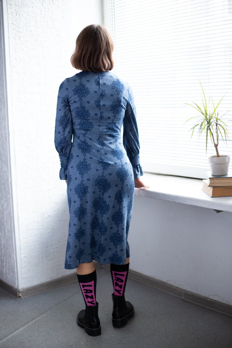 Vintage 60/'s Midi Blue Patterned Long Sleeved Dress