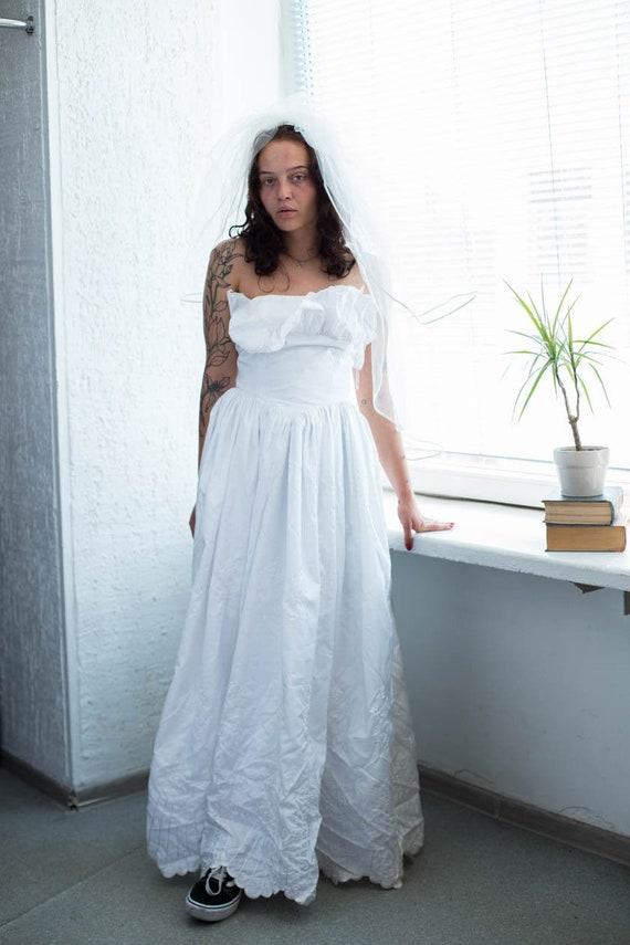 Vintage 70's White Corset Top Dress