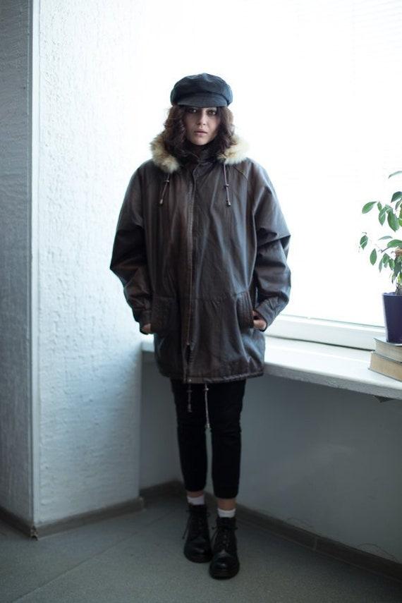 Vintage 80's Brown Leather Zip Up Parka Coat
