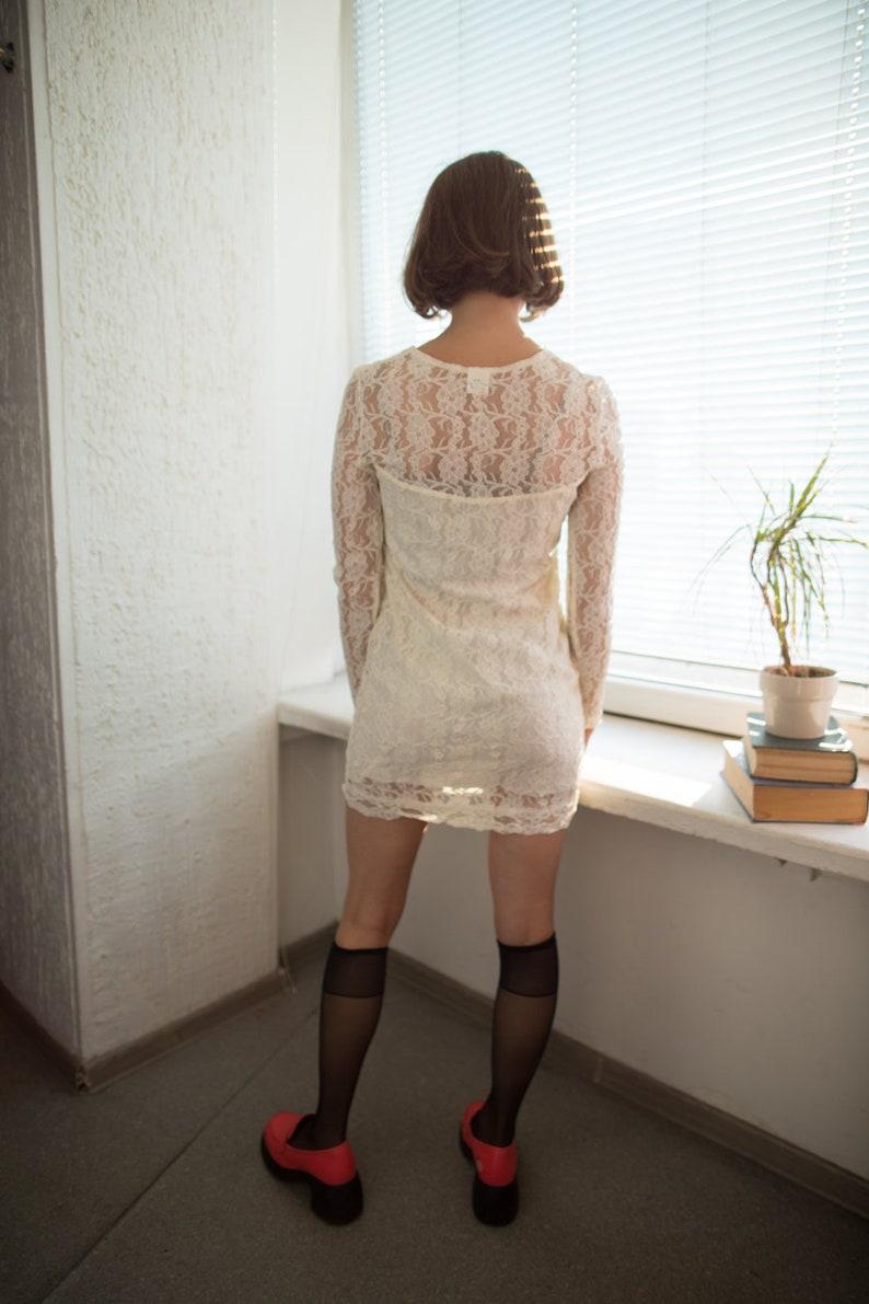 Vintage 80/'s Cream Mini Lace Dress