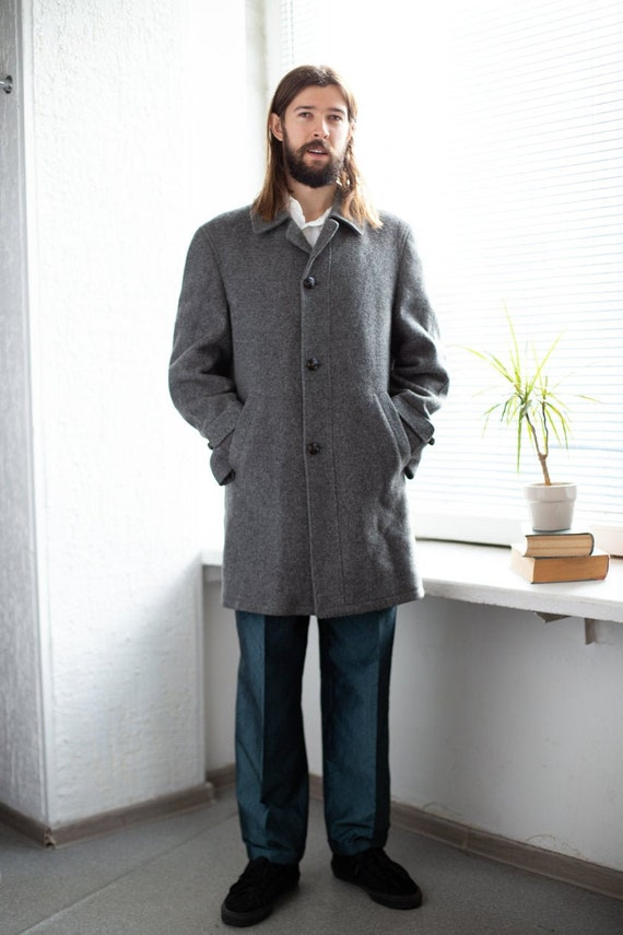 Vintage 70's Grey Wool Minimalist Coat