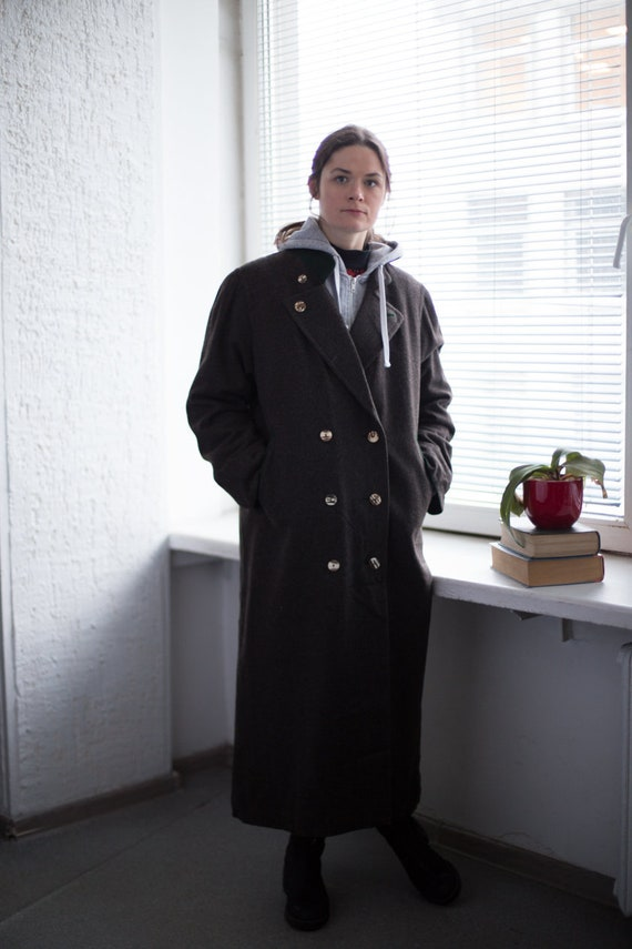 Vintage 80's Maxi Wool Double Breasted Coat In Gre