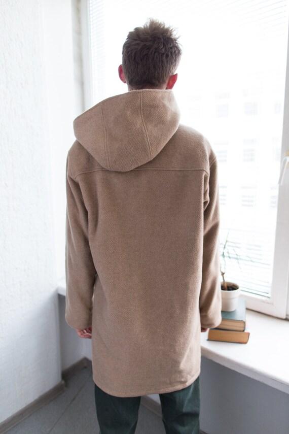 Vintage 80's Camel Hooded Wool Parka - image 2