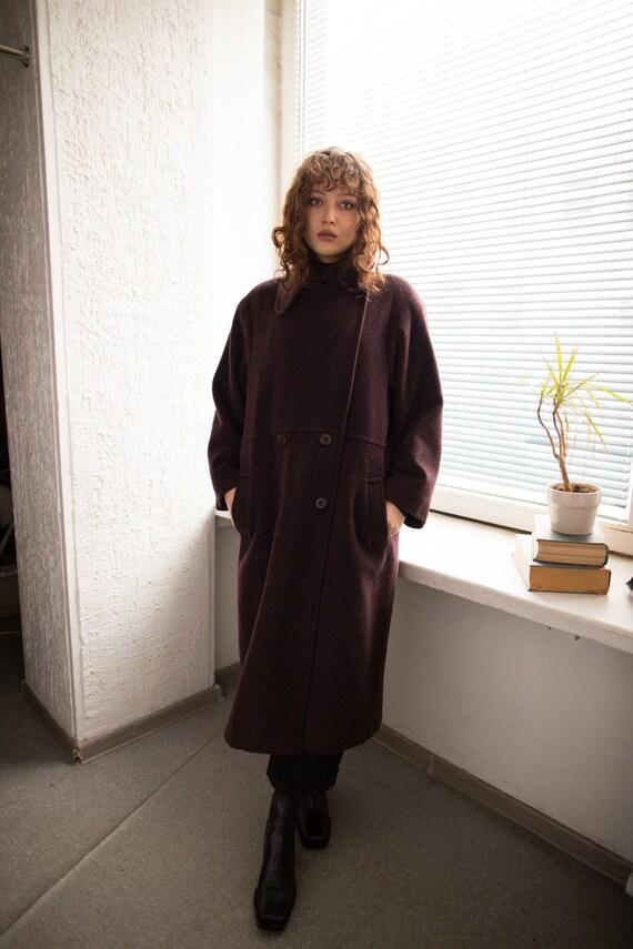 Vintage 80's Purple/Brown Wool Maxi Coat