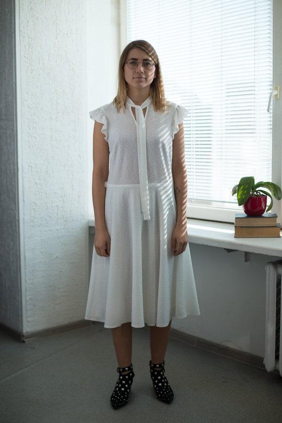 Vintage 80's Minimalist White Wedding Dress