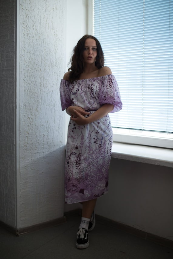 Vintage 80's Midi Puff Sleeved Dress In Purple/Whi