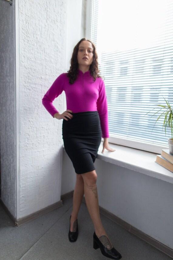 Vintage 90's Black Minimalist Mini Skirt