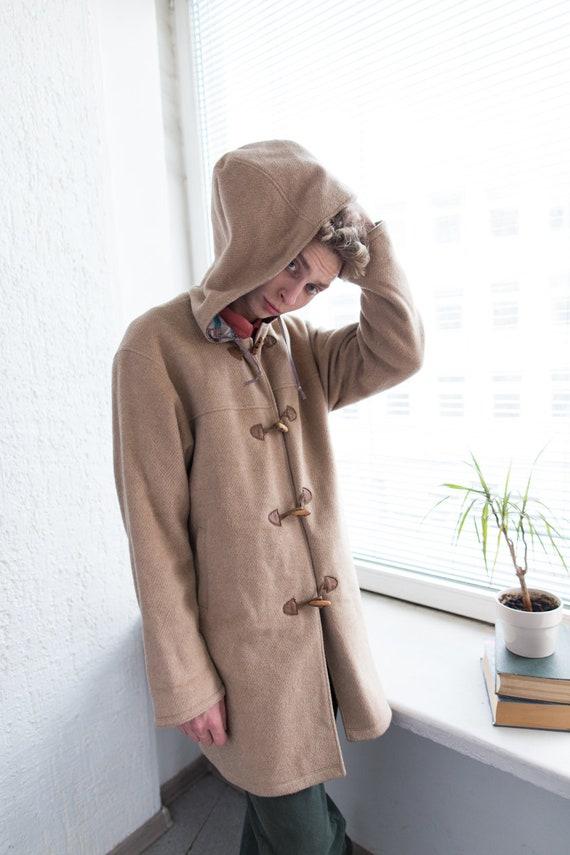 Vintage 80's Camel Hooded Wool Parka