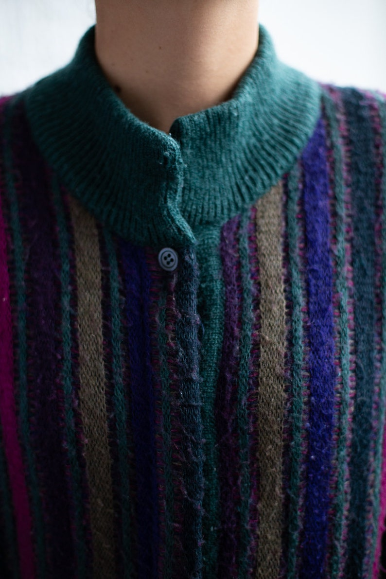 Vintage 70/'s Multicolour Striped Cardigan