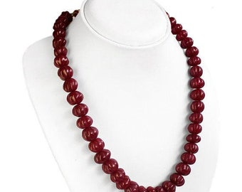 BEAUTIFUL 459.00 CTS EARTH MINED RICH RED RUBY HAND MADE ROUND BEADS NECKLACE