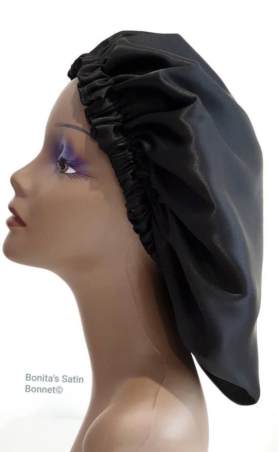 Ebony Black and Gold Reversible Silk Satin Bonnet