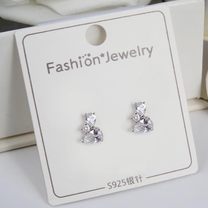 Sterling Silver Pin Dainty Earrings White Zircon Silver Stud Earrings Gemstone Earrings Earrings Studs