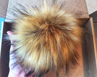 Faux Fur Pom Pom // Handmade Pom Poms // Vegan // Raccoon Pom Pom