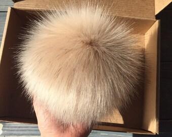 Faux Fur Pom Pom // Fur Ball For Hat Scarf// Vegan Ecofriendly // 6 Inch Fluffy Bobble // Hat Topper // Cruelty Free Craft Supply