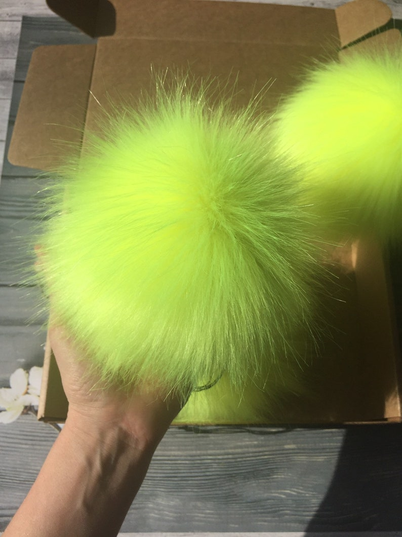Lime Faux Fur Pom Pom  Furry Ball For Hat  Vegan  Hat Topper  Cruelty Free Craft Supply  7 Inch Fluffy Bobble