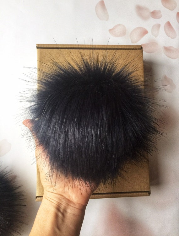 Black Hat with Faux Fur Pom Pom Ball