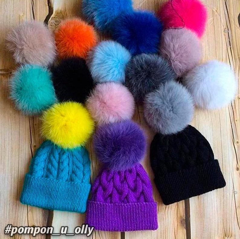 eec454535 12 Colors - 15 cm Fluffy Real Fur Pom Pom, Arctic Fox Pompom, Fur Ball, Fur  Bobble
