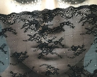 Fragile Lace made with Rayon - Delicate, Floral - not imprint - Black - Stretchy Ribbon 23 cm width - Sale by the Meter