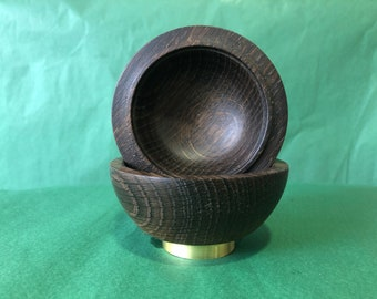 Japanese Collection: Spice bowl made of smoked oak with brass base