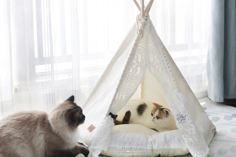 online store a7bbd 62f4b Little dove, dog teepee tent, home and tent with lace for dog or pet,  removable and washable with Matraze S