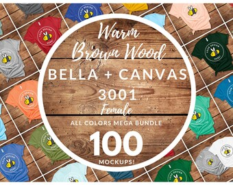 Women's Bella Canvas 3001 T-Shirt Mockup Mega Bundle, All Colors Warm Brown Wood Floor Backdrop, Rustic Style Girls FlatLay, Free Size Chart