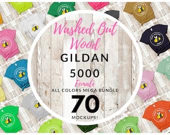 Women's Gildan 5000 T-Shirt Mockup Mega Bundle, All Colors Washed Out Wood Floor Backdrop, Beach Style Girls Flat Lay, Free Size Chart