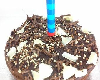 Blue Stripe Birthday Cake Sparkler Or Ice Fountain Bottle Champagne