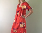 60s 70s Vintage Red Hawaiian House Dress by Sears Hawaiian Fashions Small Medium