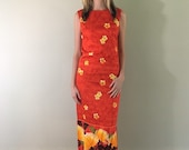 60s 70s Vintage Red OrangeHawaiian Dress Sleeveless with Yellow Hibiscus Pattern XS Small