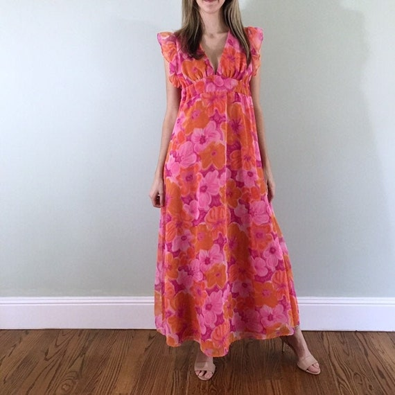 Vintage Hand made dress with hearts Small