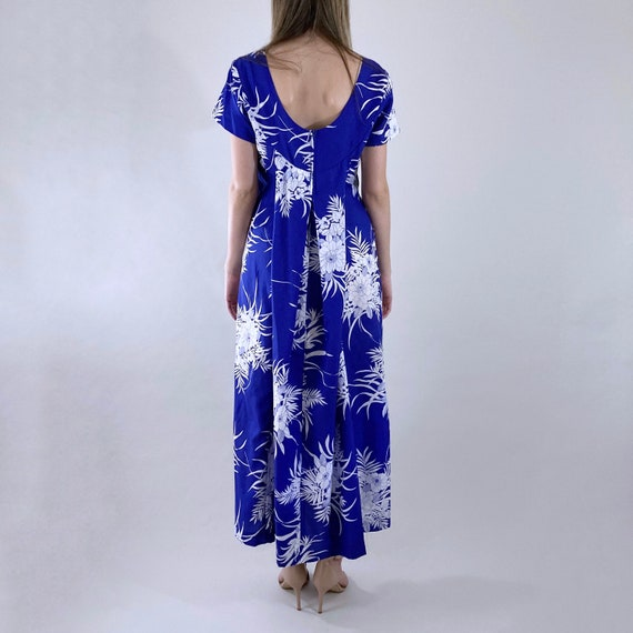 80s 90s Vintage Blue and White Hawaiian Maxi Dres… - image 7