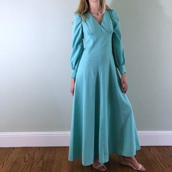 70s Vintage Aqua Peasant Maxi Dress with Long Sleeves and Empire Waist Handmade Small