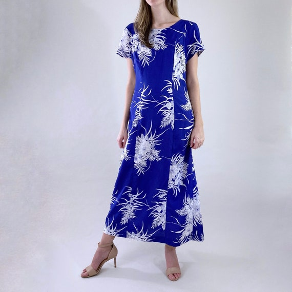 80s 90s Vintage Blue and White Hawaiian Maxi Dres… - image 3