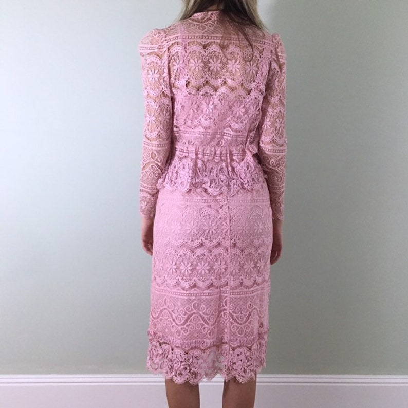 70s Vintage Pink Lace Dress And Jacket Set Xs