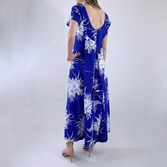 80s 90s Vintage Blue and White Hawaiian Maxi Dres… - image 6