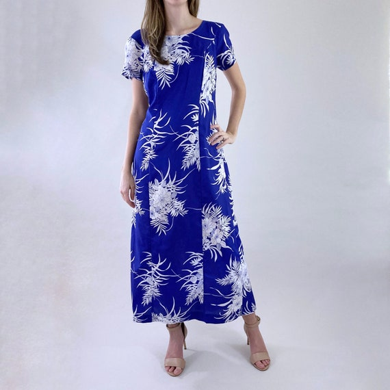 80s 90s Vintage Blue and White Hawaiian Maxi Dres… - image 1