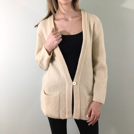 80s Vintage Cream Mohair Knit Cardigan Oversized L