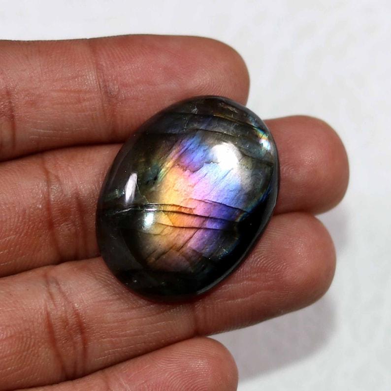 Oval Shape,Size 33x25MM 58Cts Pendant Stone AAA+++Top Labradorite Cabochon Gemstone,Amazing Beautiful Gorgeous Designer Purple Multi Flashy