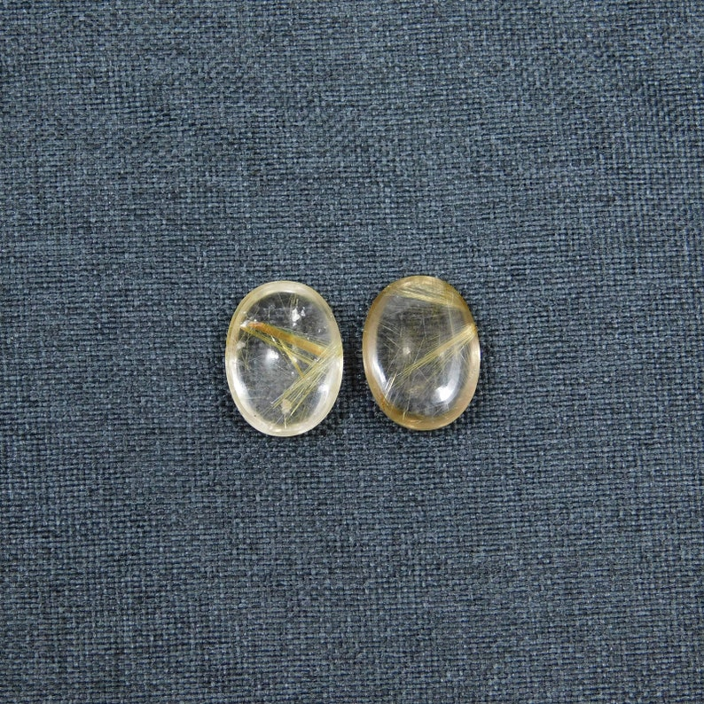 Size 16x12MM Calibrated Rutilated Quartz Gemstone 16.50Cts Cabochon 100/% Natural Golden Rutilated Quartz AAA Quality,2 pieces Oval Shape