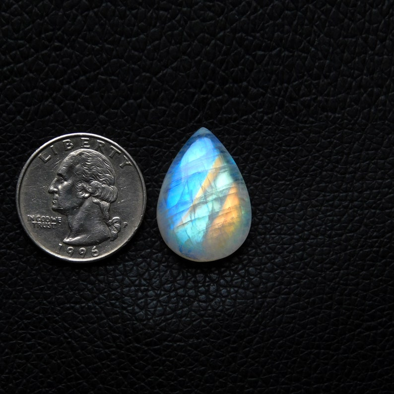 23Cts Very Beautiful Rare Designer Opaque Multi Flashy,AAA+++,100/%Natural,Rainbow Moonstone Cabochon,Pear Shape,Size25x17x7MM  Jewelry Stone